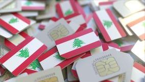 Veelvoudige Simkaarten met vlag van Libanon Het Libanese mobiele telecommunicatie conceptuele 3D teruggeven vector illustratie