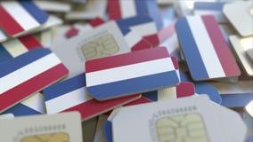 Veelvoudige Simkaarten met vlag van Nederland Het Nederlandse mobiele telecommunicatie conceptuele 3D teruggeven royalty-vrije illustratie