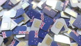 Veelvoudige Simkaarten met vlag van Nieuw Zeeland Het mobiele telecommunicatie conceptuele 3D teruggeven vector illustratie