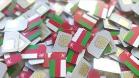 Veelvoudige Simkaarten met vlag van Oman Het Omani mobiele telecommunicatie conceptuele 3D teruggeven vector illustratie