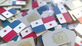Veelvoudige Simkaarten met vlag van Panama Panamian het mobiele telecommunicatie conceptuele 3D teruggeven royalty-vrije illustratie