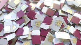 Veelvoudige Simkaarten met vlag van Qatar Qatari het mobiele telecommunicatie conceptuele 3D teruggeven stock illustratie