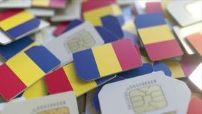 Veelvoudige Simkaarten met vlag van Roemenië Romanain het mobiele telecommunicatie conceptuele 3D teruggeven stock illustratie