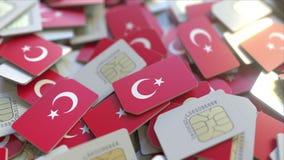 Veelvoudige Simkaarten met vlag van Turkije Het Turkse mobiele telecommunicatie conceptuele 3D teruggeven vector illustratie