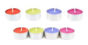 Veelvoudige thee lichte kaarsen stock fotografie