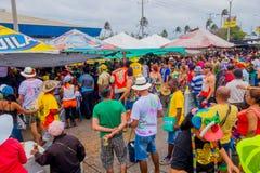 Veelvoudige toeschouwers die op de Carnaval-parade letten stock fotografie