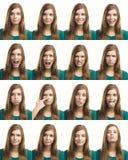Veelvoudige verschillende uitdrukkingen Stock Foto
