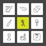 veenmolknuppel, wicket, tennis, speld, fluitje, sporten, spelen royalty-vrije illustratie