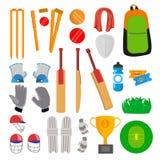 Veenmolpictogrammen Geplaatst Vector Cricketspelertoebehoren Knuppel, Handschoenen, Helm, Bal, Kop, Speelgebied Geïsoleerd Vlak B stock illustratie