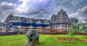 The Veeranarayana Hoysala temple at Belavadi royalty free stock image