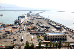 Veerboot en vrachthaven van Salerno, Italië royalty-vrije stock afbeelding