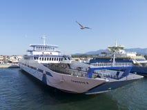 Veerboot van Thassos aan Keramoti, Griekenland Stock Foto