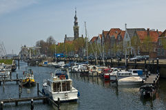 Veere. Yachts docked in a harbor in the netherlands royalty free stock image
