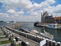 Veere, Zeeland, Netherlands. Old picturesque Dutch historical port in Veere, Zeeland Stock Images