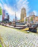 Veerhaven harbour of Rotterdam. Veerhaven and Maritime quater Scheepvaartkwartier of Rotterdam Royalty Free Stock Photography