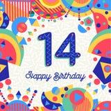 Veertien aantal van de de groetkaart van de 14 jaarverjaardag vector illustratie