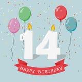 Veertien jaar van de verjaardagsgroet de kaart met kaarsen stock illustratie