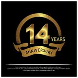 Veertien jaar verjaardags gouden het ontwerp van het verjaardagsmalplaatje voor Web, spel, Creatieve affiche, boekje, pamflet, vl royalty-vrije illustratie