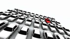 Veertig Auto's, Één Rood! Vector Illustratie