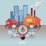 Vefor människor och economicsctorbegreppsillustration Symbol för energi - besparing Energiutforskning chemical fabriksolja Energi Arkivbilder