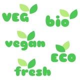 Veg, bio, veganist, eco, verse symbolen met bladeren vectorreeks Royalty-vrije Stock Afbeelding