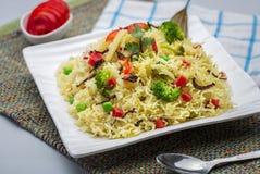 Veg-biryani oder veg pulav oder gekochter Reis Lizenzfreie Stockfotos