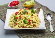 Veg-biryani oder veg pulav oder gekochter Reis Lizenzfreies Stockbild