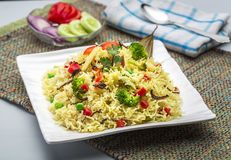 Veg-biryani oder veg pulav oder gekochter Reis Stockfoto