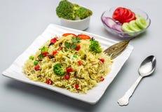 Veg-biryani oder veg pulav oder gekochter Reis Stockbilder