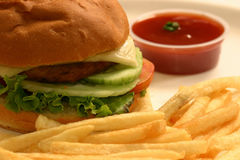 Veg Burger. A veggie burger is a vegetarian alternative to a hamburger. The patty of a veggie burger can be made from vegetables, legumes, nuts, dairy Royalty Free Stock Photo