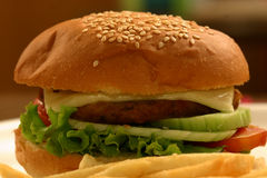 Veg Burger. A veggie burger is a vegetarian alternative to a hamburger. The patty of a veggie burger can be made from vegetables, legumes, nuts, dairy Stock Images