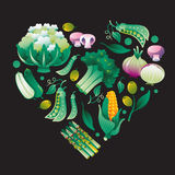 Veg. Composition with vegetables in a shape of heart Royalty Free Stock Photography
