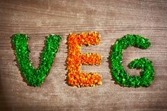 Veg de mot des parties végétales coupées photo stock