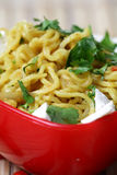 Veg Noodles. Chilly veg noodles in red bowl Royalty Free Stock Photos