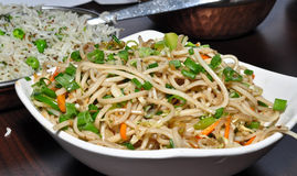 Veg noodles. Indian vegetable noodles, indo chinese snack prepared from noodles and vegetables stock photography