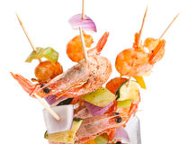 Veg and Prawn Grilled Kebabs Stock Images