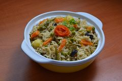 Veg Pulav Rice. Veg pulav is rice cooked with diffrent vegetables and spices. a very tasty Indian dish Stock Images