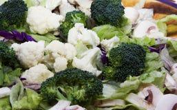 Veg salad. Orange and purple salad bowl full of lettuce, broccoli, cauliflower, mushrooms and onions shot close up nice green color Stock Image