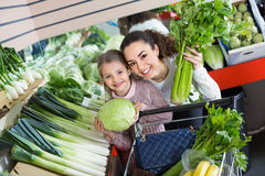 Veg verde de compra de sorriso fêmea e alegre novo da menina Foto de Stock Royalty Free