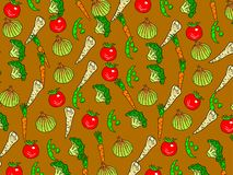 Veg wallpaper. Tasty mixed vegetable wallpaper background design - tomatoes, parsnips, onions, broccoli, beans, carrots Royalty Free Stock Image