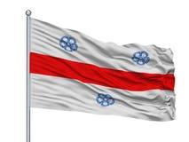 Vega Alta City Flag On Flagpole, Porto Rico, isolado no fundo branco ilustração stock