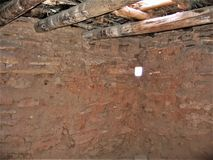 Vega Beams in Dwelling at Anasazi State Park and Museum. A dwelling with adobe walls and vega beams at Anasazi State Park and Museum in Boulder, Utah Stock Photos