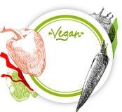 Vegan γύρω από το υπόβαθρο με τα λαχανικά απεικόνιση αποθεμάτων
