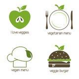 Vegan και χορτοφάγα εικονίδια τροφίμων Στοκ Εικόνες