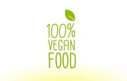 100% vegan σχέδιο εικονιδίων λογότυπων έννοιας κειμένων φύλλων τροφίμων πράσινο Στοκ Φωτογραφία