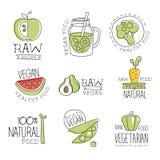 Vegan 100 φυσικών προϊόντων Promo τοις εκατό συλλογής ετικετών Στοκ Φωτογραφία