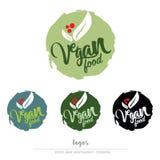 Vegan, χορτοφάγο λογότυπο τροφίμων Στοκ Φωτογραφία