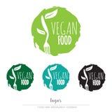Vegan, вегетарианский логотип еды Стоковые Фотографии RF