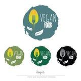 Vegan, вегетарианский логотип еды Стоковые Изображения
