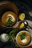Суп чечевиц Vegan в светотени стоковые фото